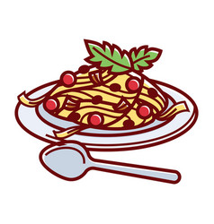 delicious italian carbonara on plate with spoon vector image vector image