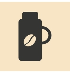 Flat in black and white mobile application thermos vector