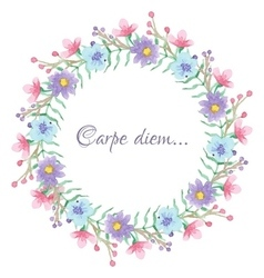 Floral template with carpe diem script vector