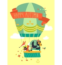 Funny friendly animals in hot air balloon Hello vector image