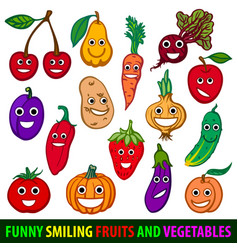 funny smiling fruits and vegetables set flat vector image vector image