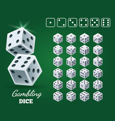 gambling dice set on green background vector image