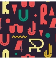 Geometric lettering seamless colored pattern vector