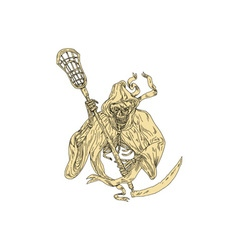 Grim Reaper Lacrosse Stick Drawing vector image