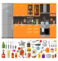 Kitchen furniture set of elements - utensils vector