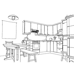 Kitchen sketch vector image vector image