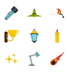 light symbols icon set flat style vector image vector image