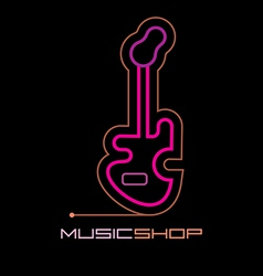 Neon music shop vector