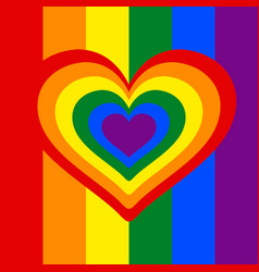 rainbow heart heart lgbt color symbol of vector image
