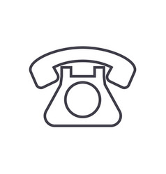 retro phone line icon sign vector image vector image