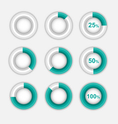 set of green pie chart circle infographic vector image