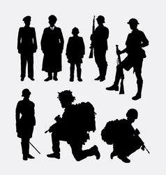 Soldier army and police silhouette 4 vector