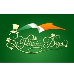 St Patricks Day Background with flag of Ireland vector image vector image