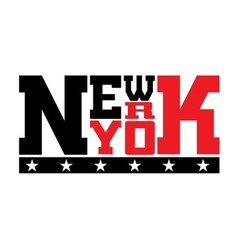 T shirt typography stars new york red vector