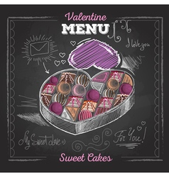 Valentine day card with love hearts and candies vector image