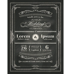 vintage frame wedding invitation card vector image