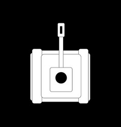 White icon on black background military tank vector