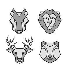 Wild animals geometric head icons set vector