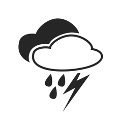 Sever thunder shower heavy rain weather forecast vector