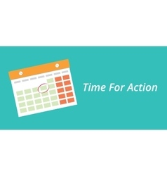 Time for action concept with a calendar blue vector