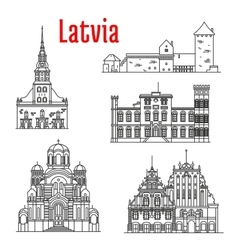 Historic landmarks and sightseeings of latvia vector