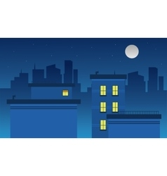 Silhouette of city and moon landscape vector