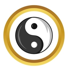 Yin and yang symbol icon cartoon style vector