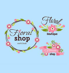 Floral shop badge decorative frame template vector