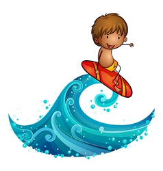 A little man surfing vector image