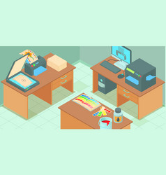printing process horizontal banner cartoon style vector image