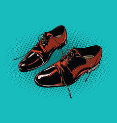 leather brown men shoes vector image