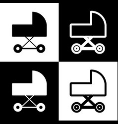 Pram sign black and white vector