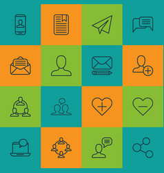 Set of 16 social icons includes conversation vector