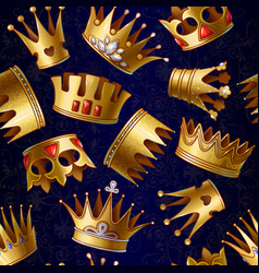 Cartoon gold royal crowns pattern vector