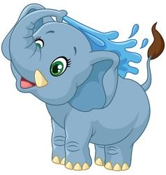 Cartoon elephant spraying water vector image