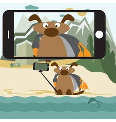Concept flat design with dog and selfie stick vector