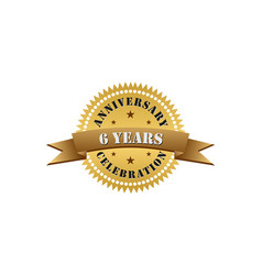 6 years anniversary celebration gold logo vector