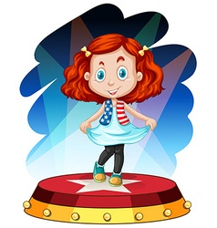 Little girl standing on stage vector