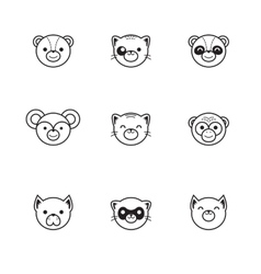 Trendy line style set of funny cartoon vector