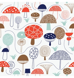 Pattern with whimsical mushrooms vector