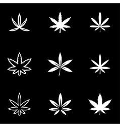 White marijuana icon set vector