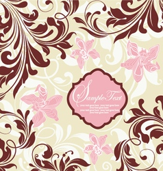 Invitation card with floral background and place f vector