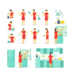 A woman in the kitchen set of different poses vector