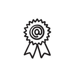 Award with at sign sketch icon vector