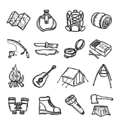 Camping black white icons set vector