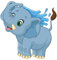 Cartoon elephant spraying water vector image