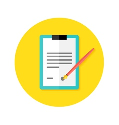 Contract clipboard with pen flat circle icon vector
