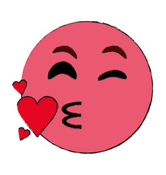 Flirty heart kiss emoji icon image vector