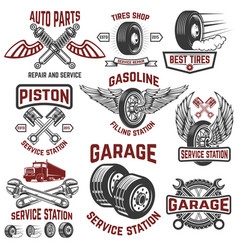garage service station tires shop auto parts vector image vector image