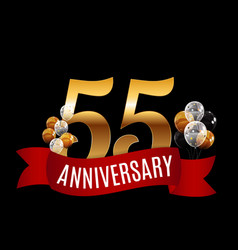 Golden 55 years anniversary template with red vector